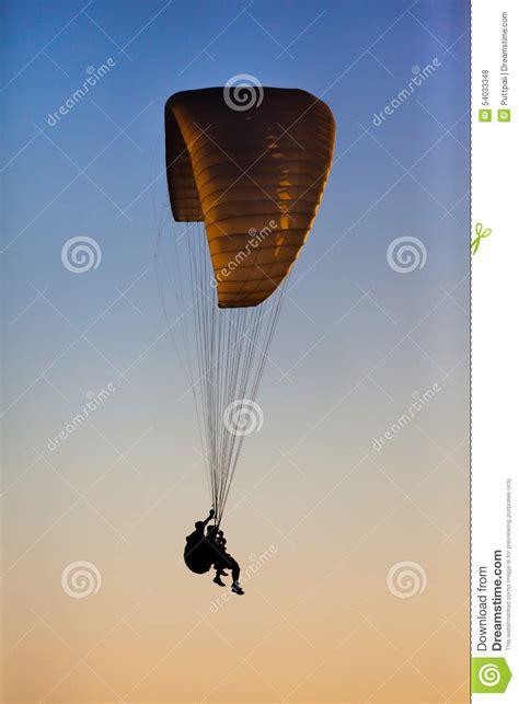 Jump Risk Yellowsun Coach silhouette parachute stock photo image 54033348