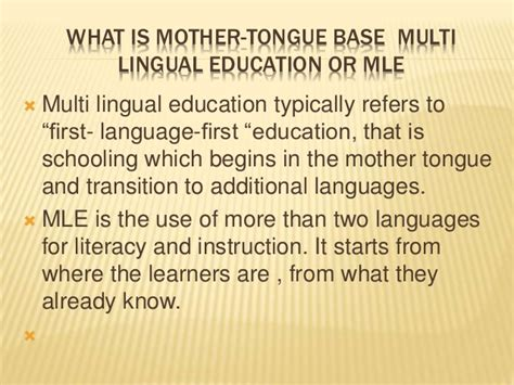 thesis about mother tongue based education mother tongue based multilingual education