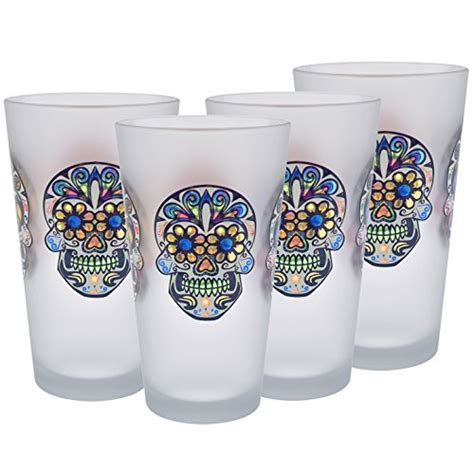 Decorated Pint Glasses by Culver Sugar Skulls Decorated Frosted Pint Pub