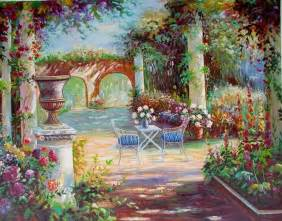 Paintings Of Flower Gardens Flower Garden Painting Painting Reproductions Garden Painting Painting