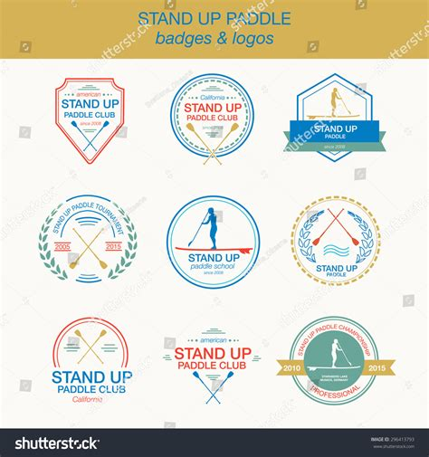 stand up card template set different logo templates stand paddling stock vector