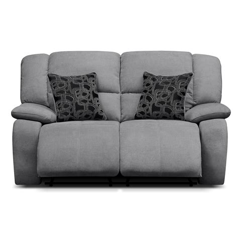 solemn gray fabric upholstered reclining loveseat two