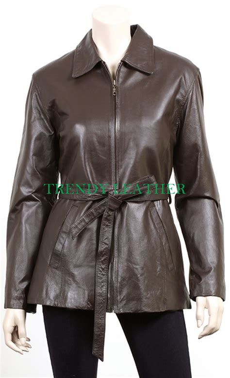 s stylish brown zipper with belt real leather jacket