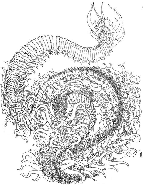 abstract dragon coloring pages fire dragon linework by benjamin the fox anti stress