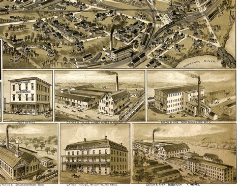 nashua nh in 1883 bird s eye view map aerial map