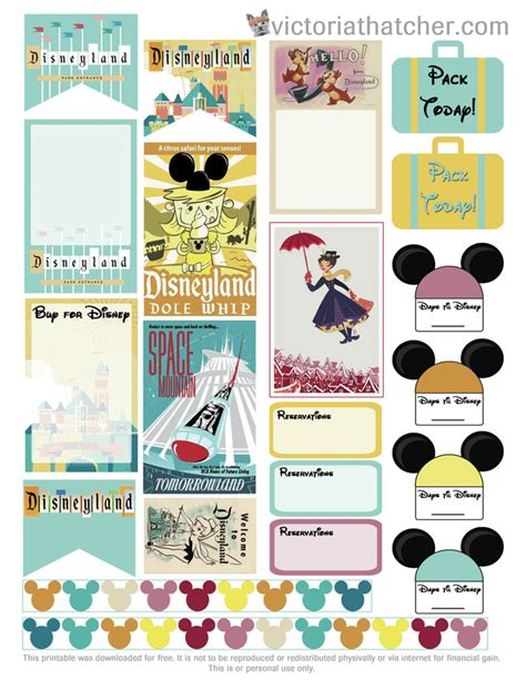 Free Printable Disney Planner Stickers | free printable disney vacation planner stickers from