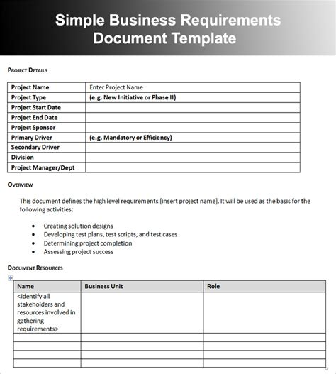 requirements document template business requirements document exle creative designs