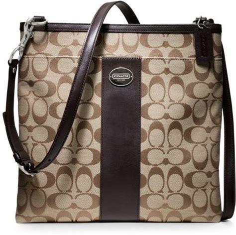 coach swing pack coach legacy signature large swingpack in khaki silver