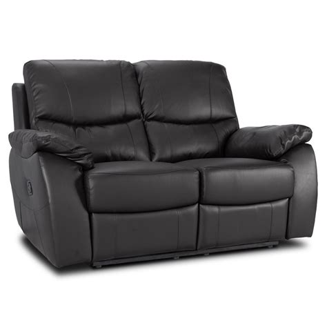 2 Seater Leather Recliner Sofa Black Cushions Furniture 2 Seater Recliner Sofas