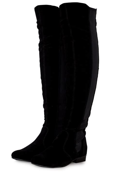 womens the knee flat pull on black faux
