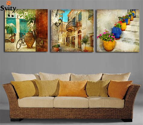 free shipping 3 panels canvas paintings gardening home
