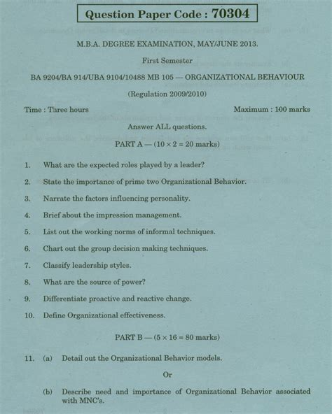 Mba Organisational Behaviour Question Paper by Chennai Management Ba 9204 Organizational