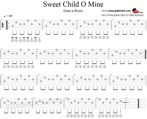 tutorial guitar mine sweet child o mine guitar tab guitarnick guitar