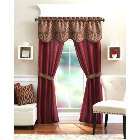 5 Piece Curtain Panel Set Elegant Red Curtains Home Living Curtain Sets Living Room