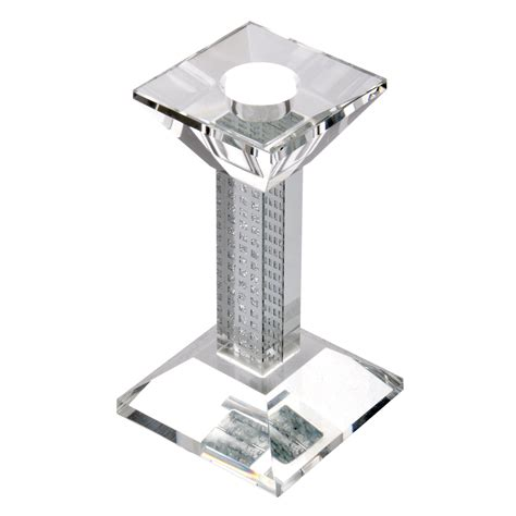 Square Glass Candle Holders by Glass Square Pillar Candle Holder With Silver Glittery