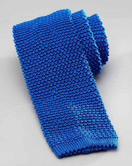 blue knit tie charvet knit silk tie in blue for royal blue lyst