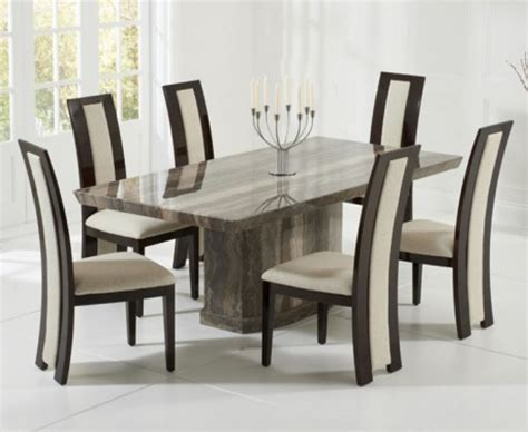 Marble Dining Table And Chairs Carvelle 200cm Brown Pedestal Marble Dining Table With Raphael Chairs The Great Furniture