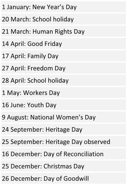 south african school terms  public holidays  pretoria