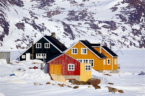 houses in greenland traditional houses in kulusuk village east greenland stock photo colourbox
