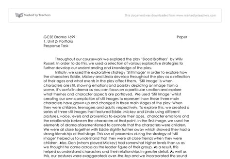 Blood Brothers Gcse Drama Essay by Gcse Drama Coursework Blood Brothers Drugerreport732 Web