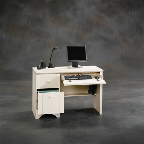 sauder harbor view antiqued white computer desk 401685
