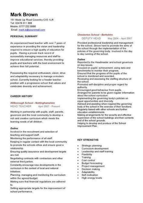 Curriculum Vitae Teacher by Teacher Cv Template Lessons Pupils Teaching Job