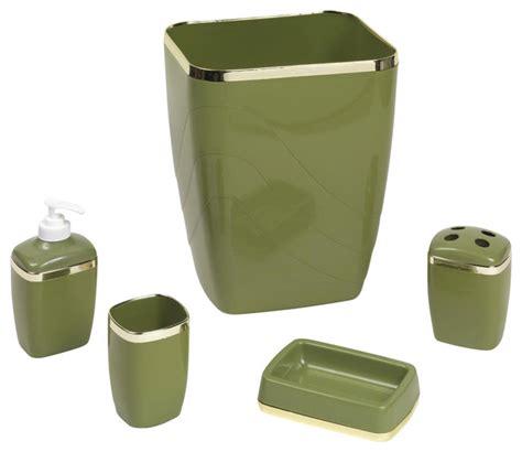 sage green bathroom accessories 5 piece bathroom waste basket set with gold trim sage
