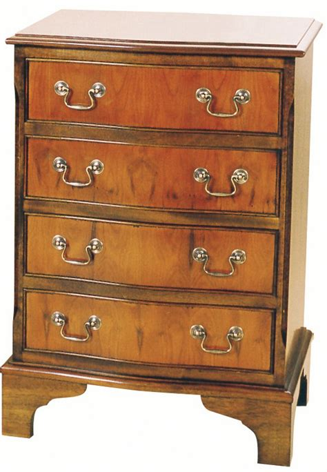 Narrow Depth Chest Of Drawers by Narrow 4 Drawer Serpentine Chest Bedside Cabinets