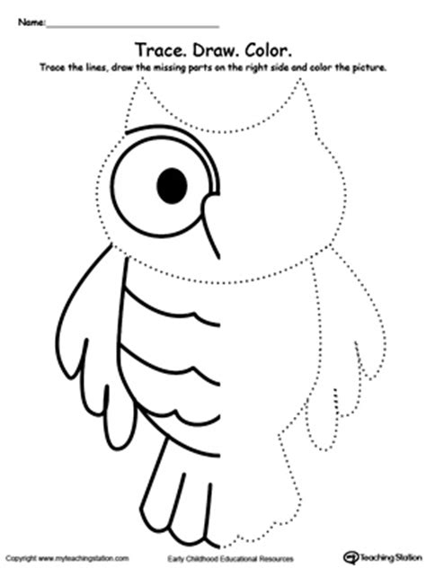 pattern drawing worksheet trace and draw missing lines to make an owl