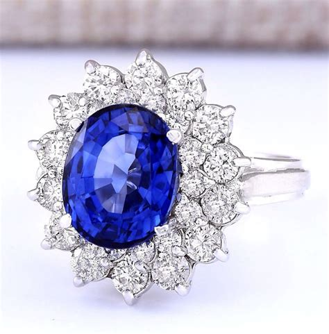 5 55 carat sapphire and in 14k solid white gold