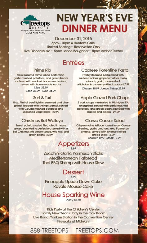 new year dinner menu treetops resort new year s dinner
