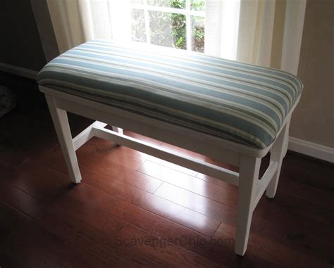 make bench seat cushion easy no sew padded seat cover scavenger chic