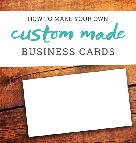 How To Make Your Own Business Cards A Tutorial