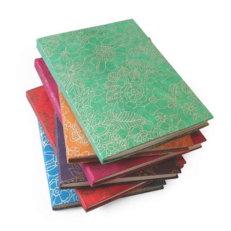 Handmade Notebooks Uk - handmade lokta paper notebook flower print by aura que