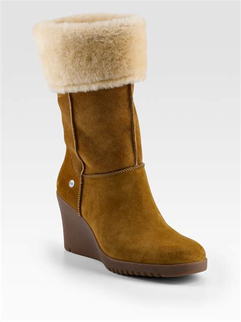 ugg shearling cuff suede wedge boots in brown lyst