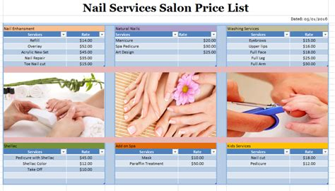 nail salon price list template nail services salon price list template free layout format