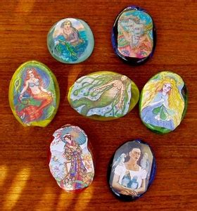 Decoupage Rocks - decoupage on rocks paper weights