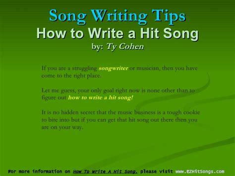 7 Tips On That Will Get Hits by Song Writing Tips