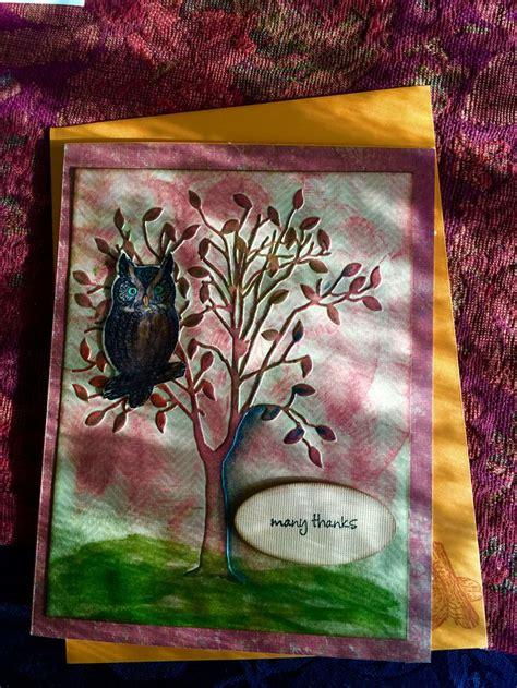 Handmade Tree Cards - thank you card owl in tree s handmade cards