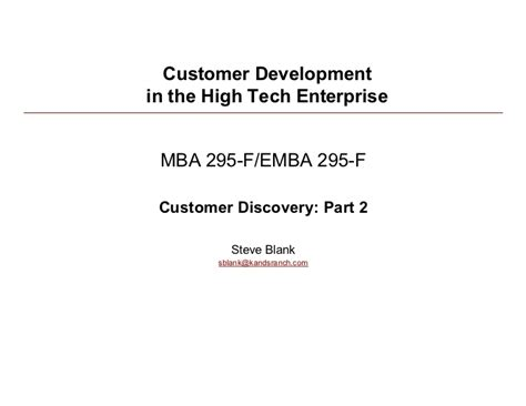 Tech Part Time Mba Class Profile by Customer Development Lean Startup 020210 Class 3