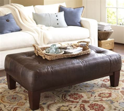 Sullivan Leather Ottoman Sullivan Leather Rectangular Ottoman Pottery Barn