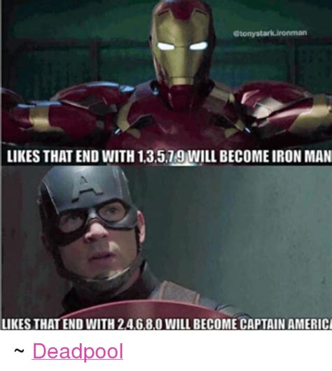 Iron Man Meme - etonystark ironman likes that end with 13579 will become