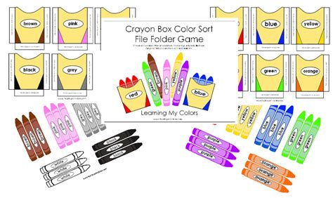 printable file folder games for kindergarten preschool color printables crayon box color sort game