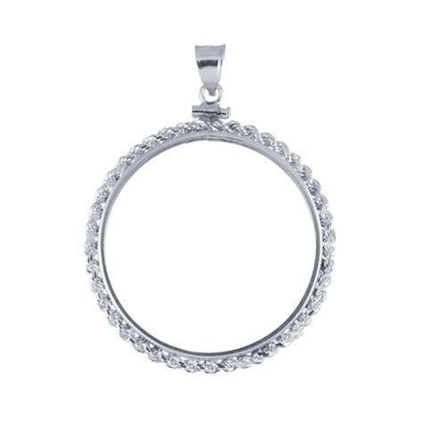 sterling silver rope edge dollar coin pendant mounting