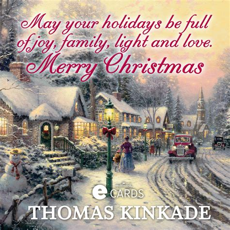 thomas kinkade hallmark interactive holiday  card  thomas kinkade company