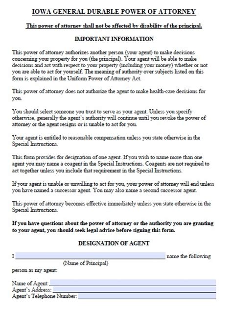 Free Iowa Durable Power Of Attorney Form Pdf Template Iowa Will Template