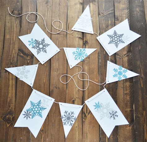 Winter Paper Crafts - diy snowflake winter banner craft darice