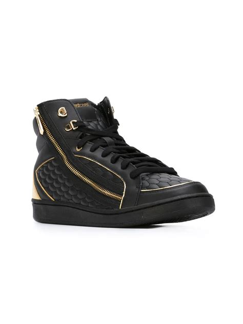 just cavalli sneakers just cavalli hi top lace up sneakers in black for lyst