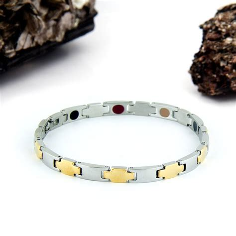 brushed stainless gold steel negative ion bracelet by