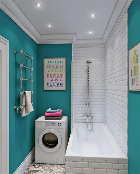 design interior laundry kiloan arredare piccoli spazi giocando con i colori 25 mq